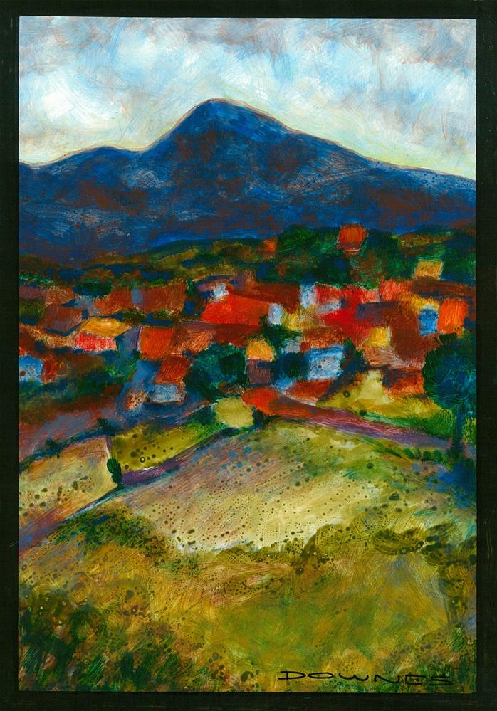 """197 LANDSCAPE STYLISED 3"" original fine art by Trevor Downes"