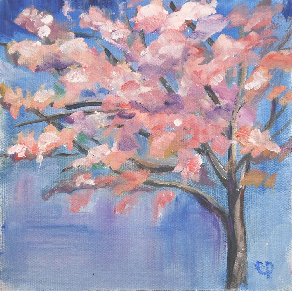 """Cherry Blossom Plein Air"" original fine art by Carol DeMumbrum"