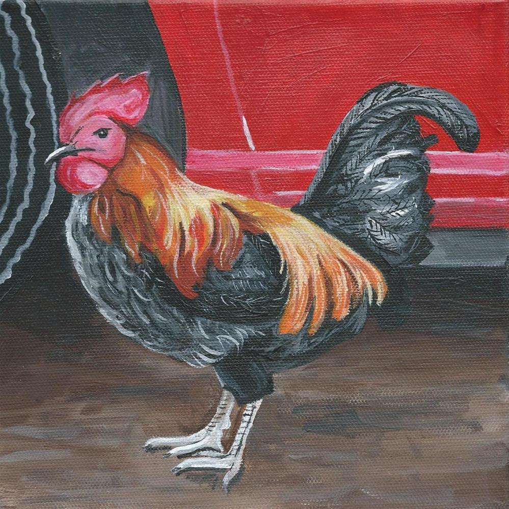 """""""Rooster #2"""" original fine art by Lisa Wiertel"""