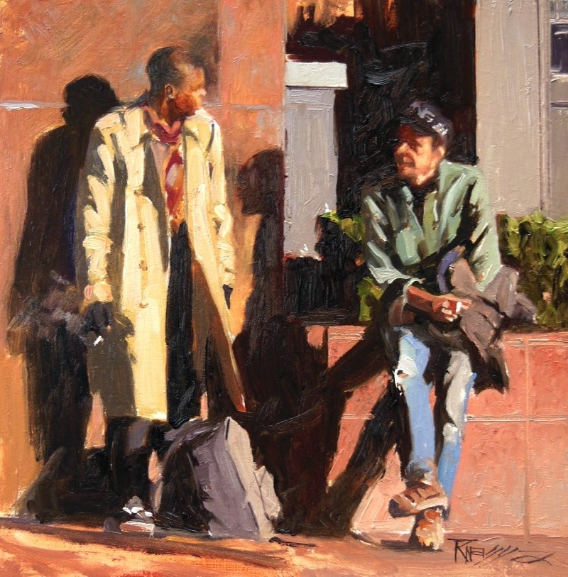 """""""The Conversation oil painting by Robin Weiss"""" original fine art by Robin Weiss"""