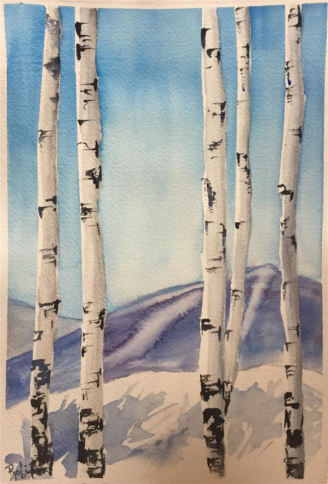 """Winter Aspen Group"" original fine art by Renee Robison"