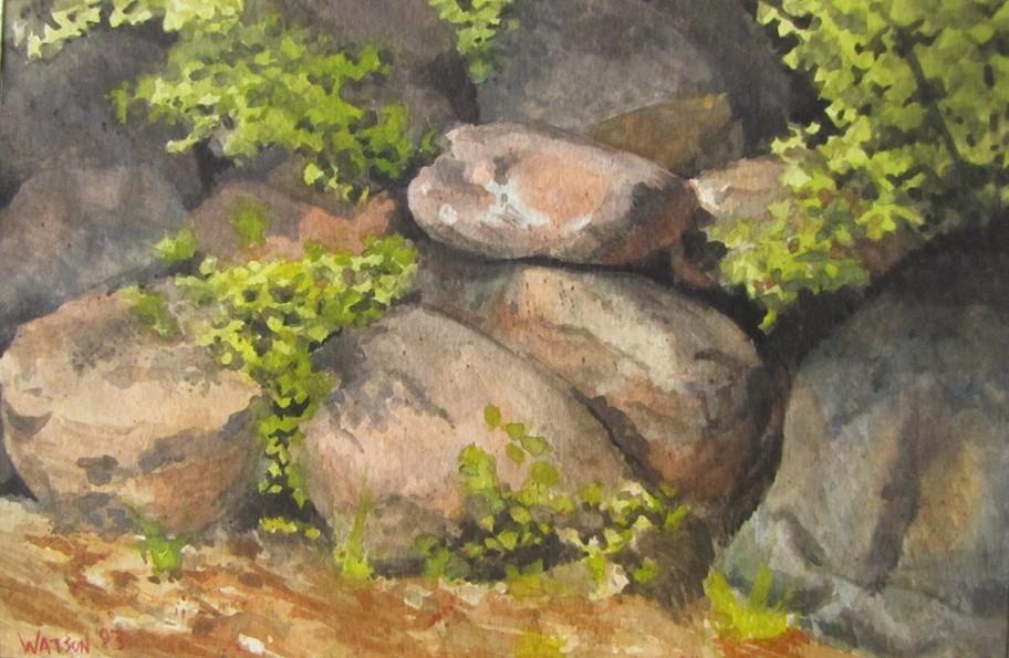 """""""77 - Fay Lake Rocks"""" original fine art by Edward Watson"""