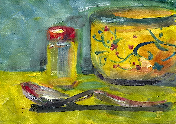 """Yellow Dishes 67"" original fine art by Francine Dufour~Jones"