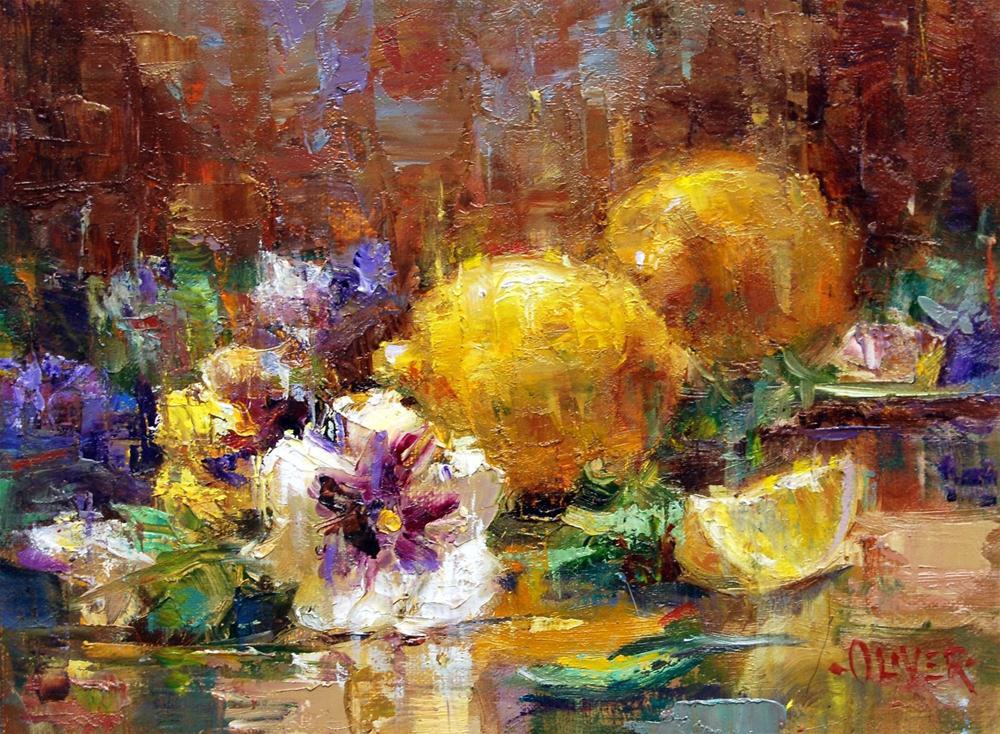 """""""Pansies and Lemons"""" original fine art by Julie Ford Oliver"""