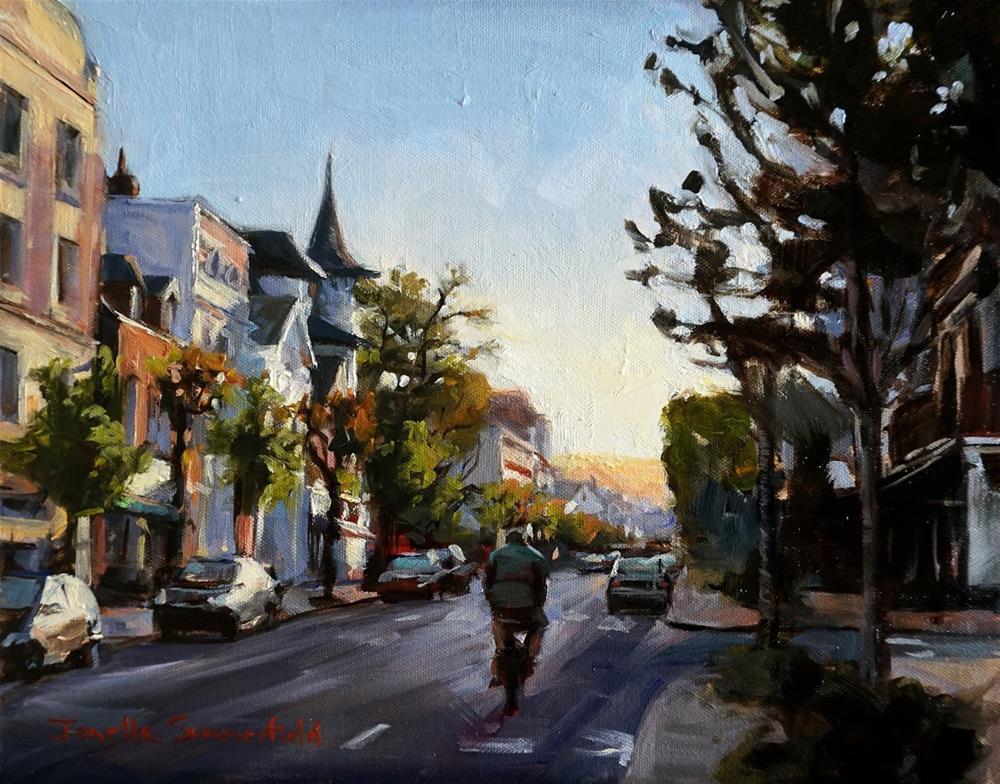 """""""Morning Bike Ride in Deauville"""" original fine art by Jonelle Summerfield"""