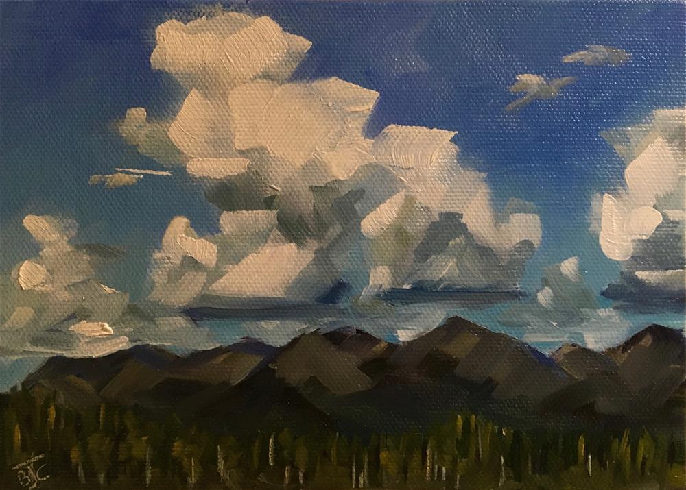 """""""Cumulus Clouds Over The Chugach Range"""" original fine art by Bobbie Cook"""