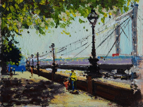 """Morning Light II, Albert Bridge"" original fine art by Adebanji Alade"