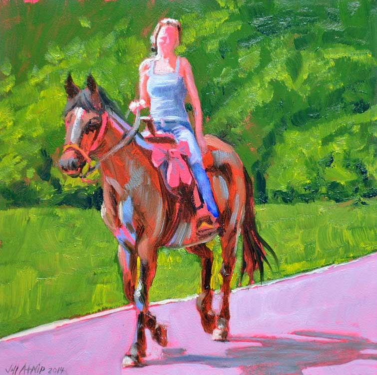 """Horse with Red Bow"" original fine art by Jeff Atnip"