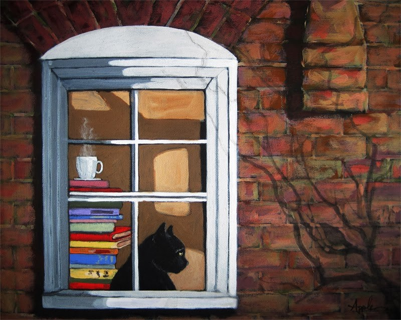 """Cat in window animal art portrait"" original fine art by Linda Apple"