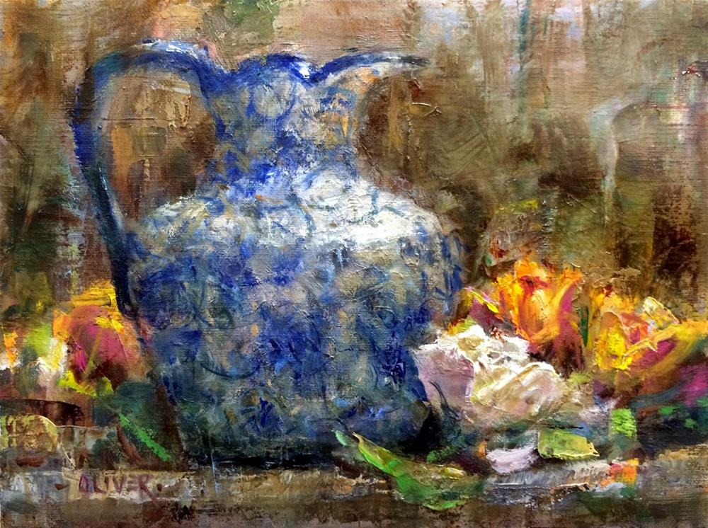 """""""Creamer and Roses plus a visit with Qiang Huang."""" original fine art by Julie Ford Oliver"""