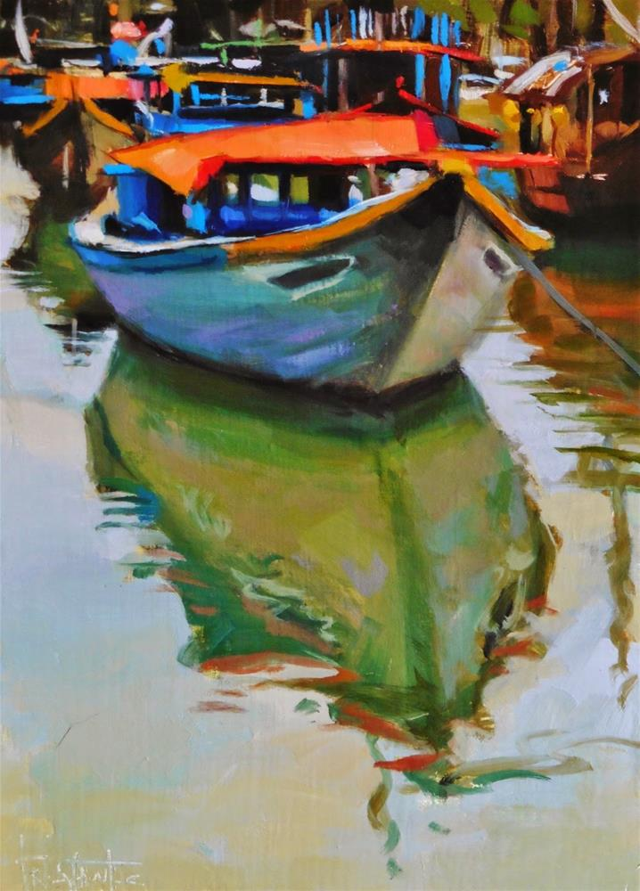 """Ship at pier"" original fine art by Víctor Tristante"