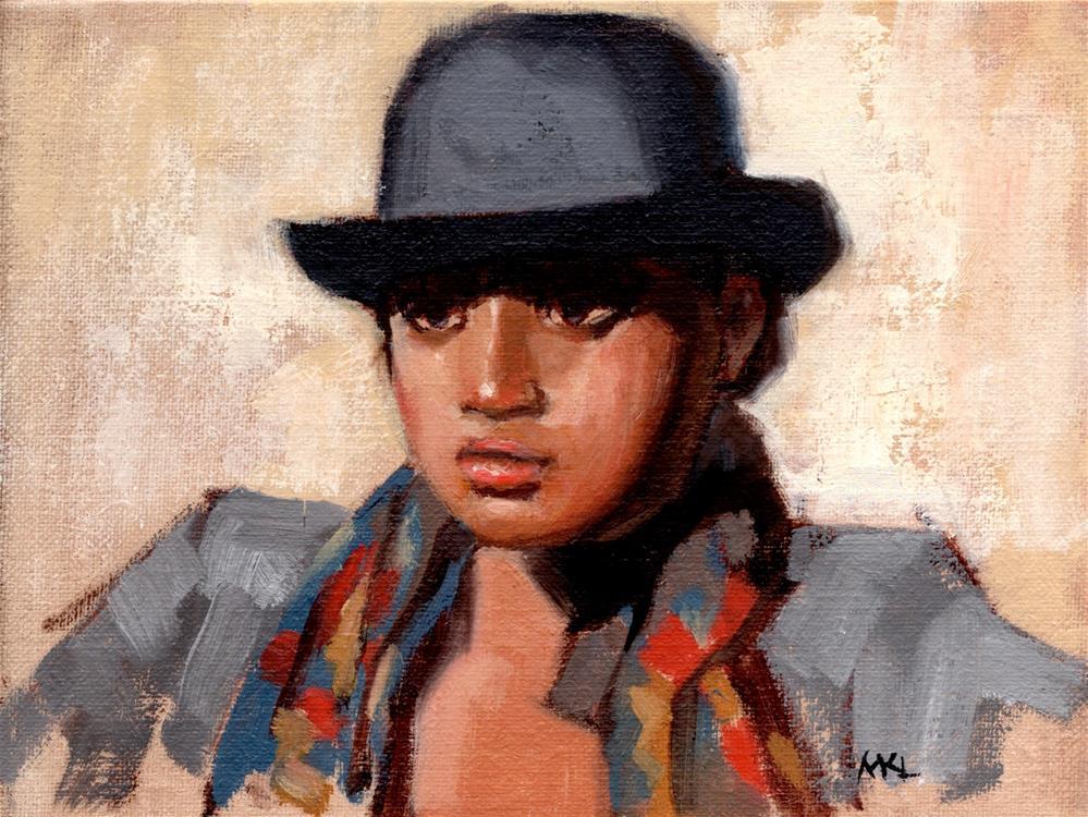 """Derby Hat Girl"" original fine art by Marlene Lee"