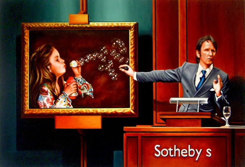 """""""Art Bubble- Painting Of Evening Auction At Sotheby's"""" original fine art by Gerard Boersma"""