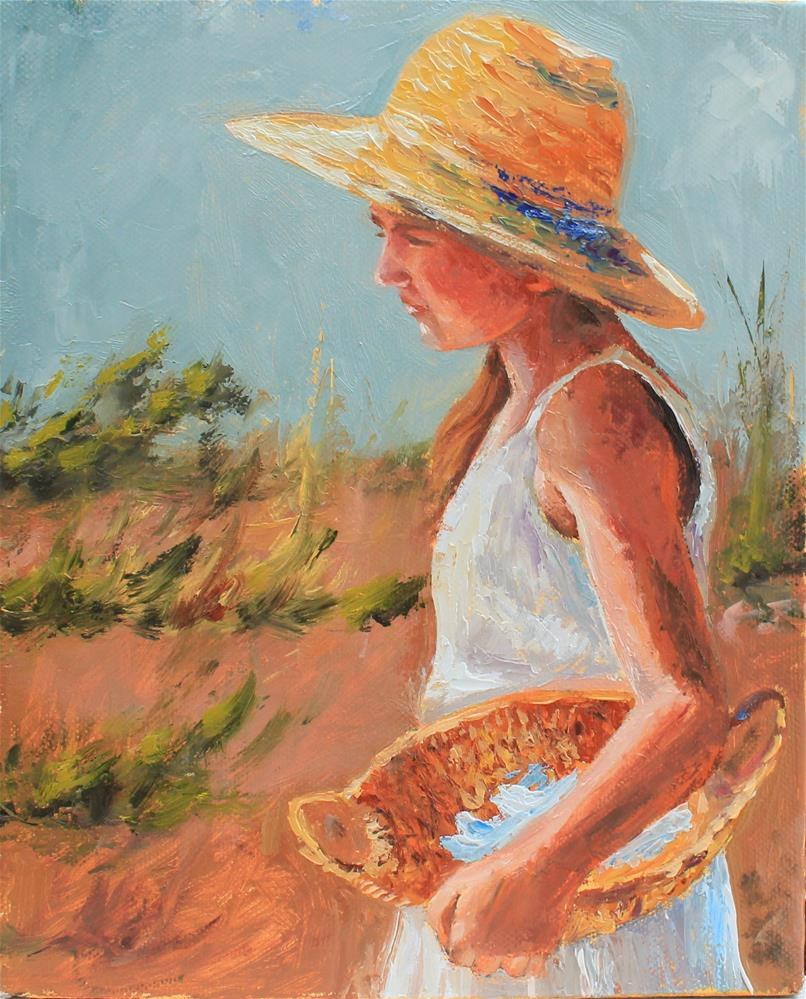 """Girl with basket"" original fine art by Marco Vazquez"