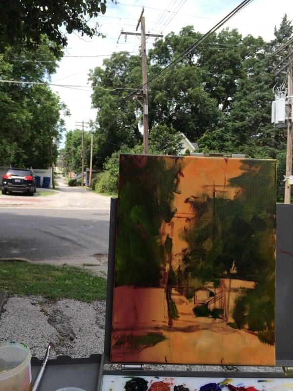 """Behind Main Street"" original fine art by Sandy Haynes"