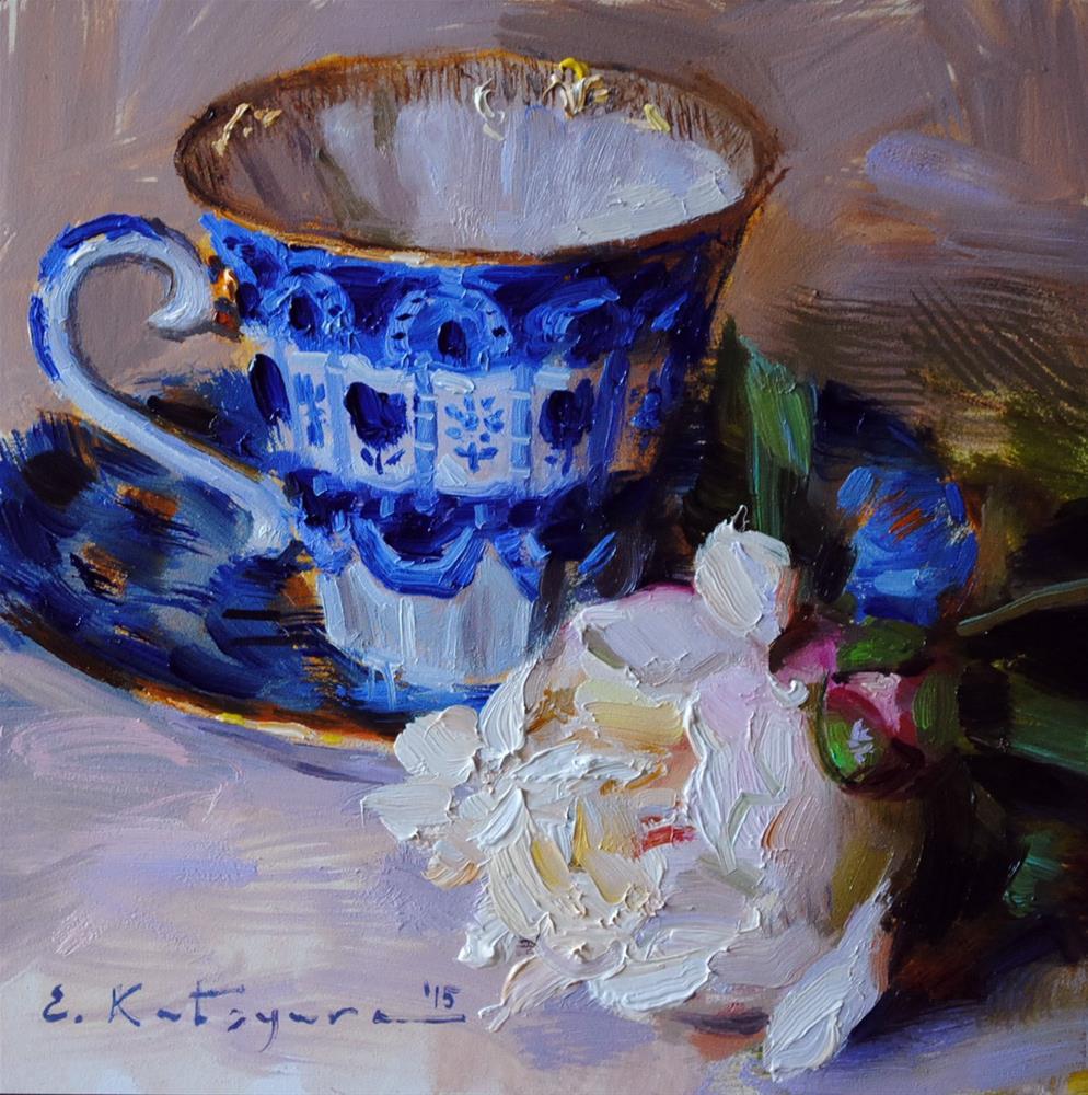 """Teacup and Peony (Sold)"" original fine art by Elena Katsyura"