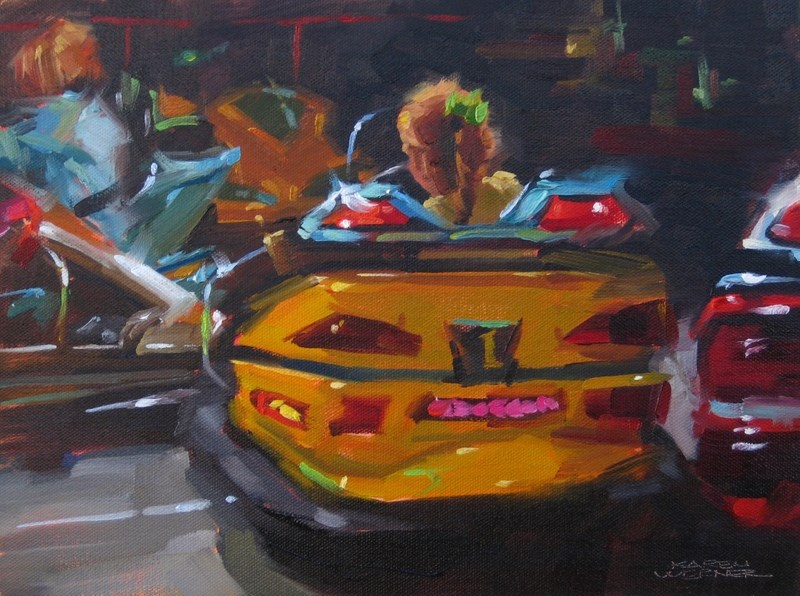 """Bumper Cars"" original fine art by Karen Werner"