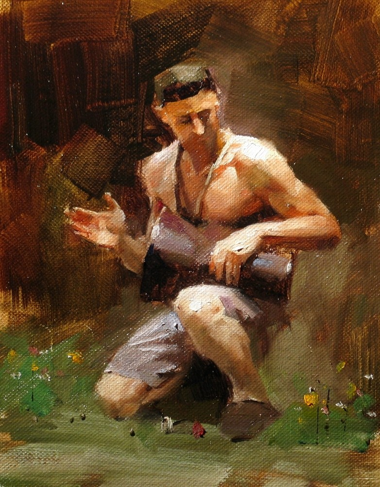 """""""A Lonely Drummer"""" original fine art by Qiang Huang"""