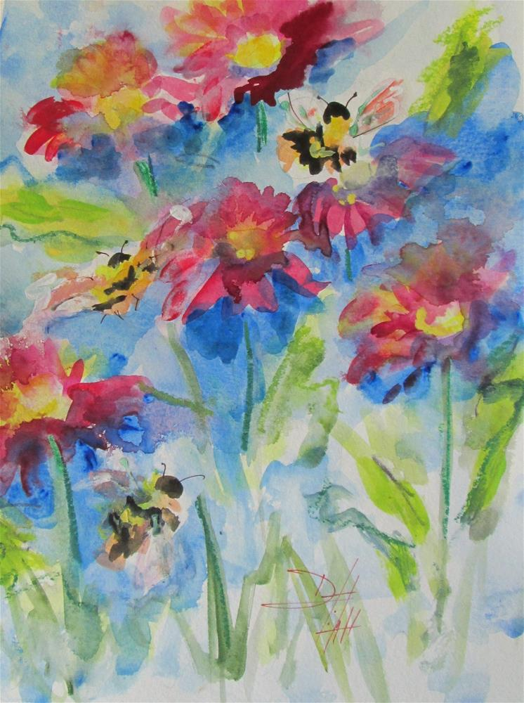 """Pink Flowers and Bees"" original fine art by Delilah Smith"