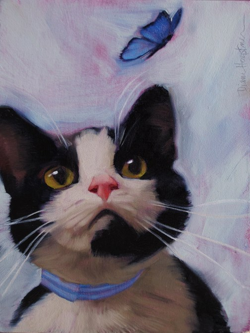 """""""Cat and Butterfly an oil painting by Hoeptner"""" original fine art by Diane Hoeptner"""
