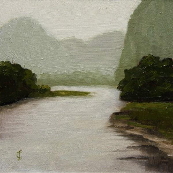 """Li River Haze"" original fine art by Jane Frederick"
