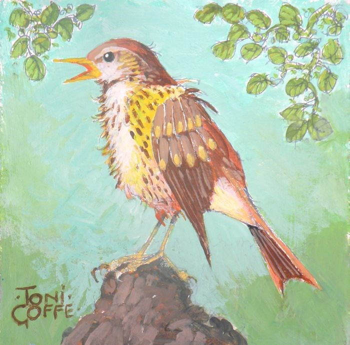 """Song Thrush"" original fine art by Toni Goffe"