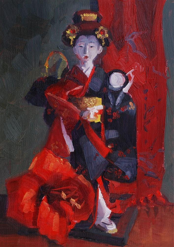 """Japanese Doll with Amaryllis Flower and Scarf"" original fine art by Susan McManamen"