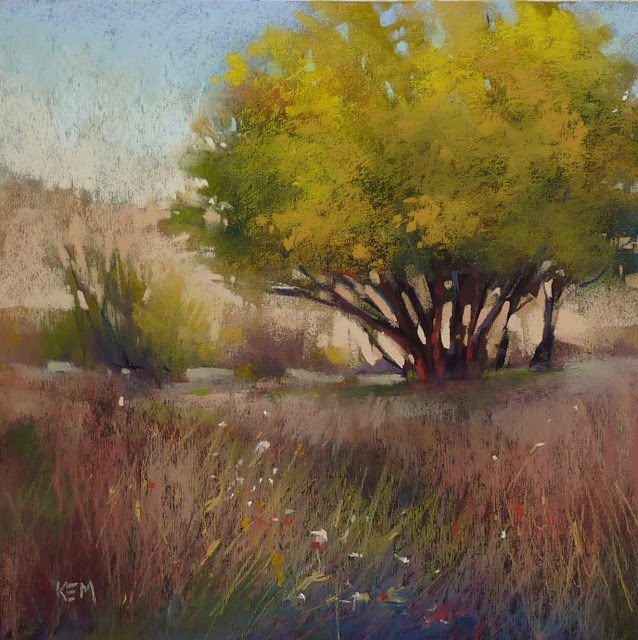 """""""10 Steps to a Yellow Tree Painting"""" original fine art by Karen Margulis"""