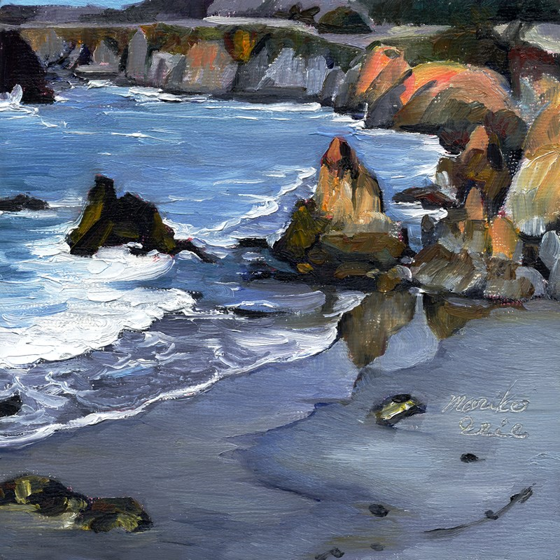 """Orangey Rocks"" original fine art by Mariko Irie"