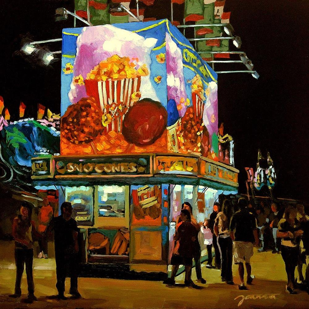 """Sugar Boost--Series Painting of Fair Food Booth"" original fine art by Joanna Bingham"
