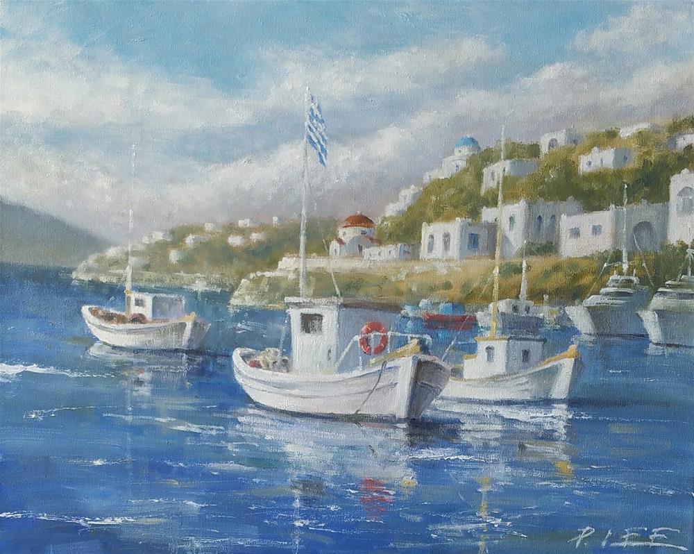 """Greek Holiday"" original fine art by Peter Lee"