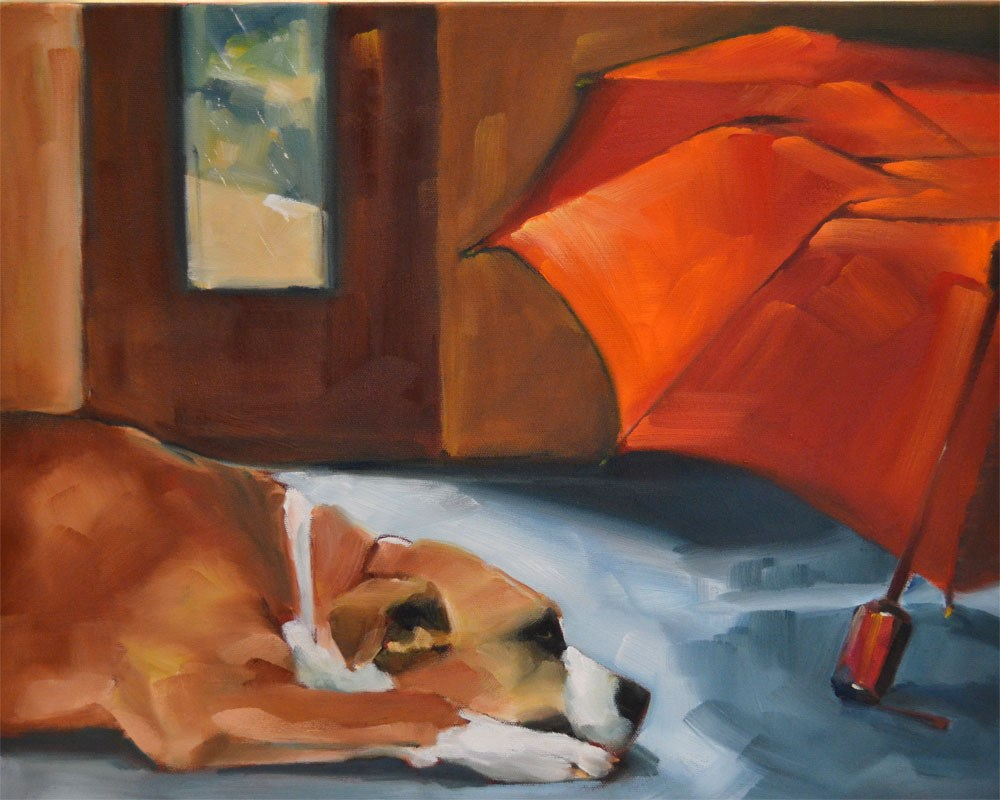 """Red Umbrella Blues"" original fine art by Cheryl Wilson"