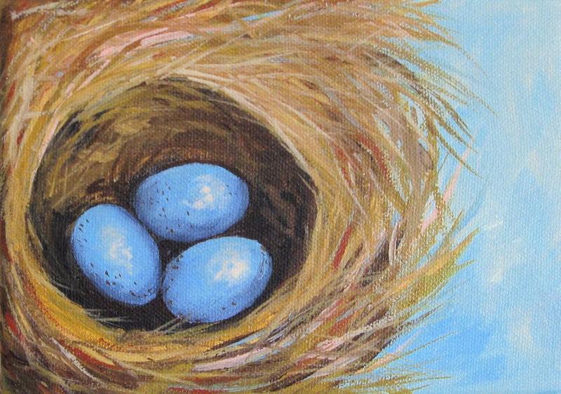 """Robin's Three Eggs VI"" original fine art by Torrie Smiley"