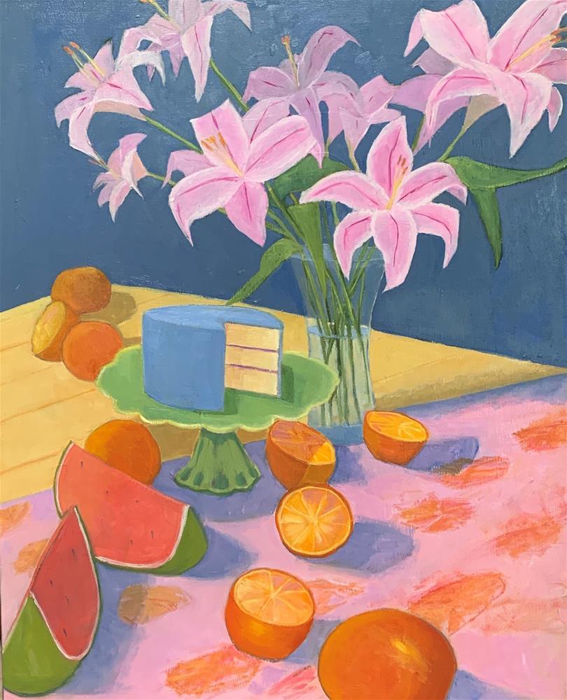 """""""Lilies and Cake"""" original fine art by Sheila Longerbeam"""