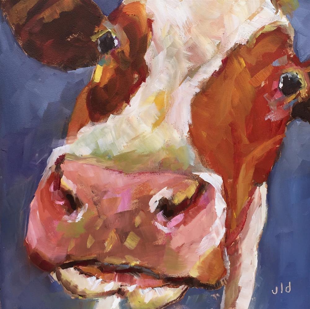 """Cow 61 Nose first"" original fine art by Jean Delaney"