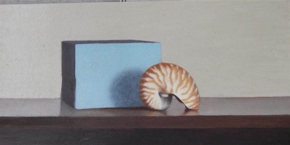 """Still Life with Nautilus and Blue Box"" original fine art by Megan Schembre"