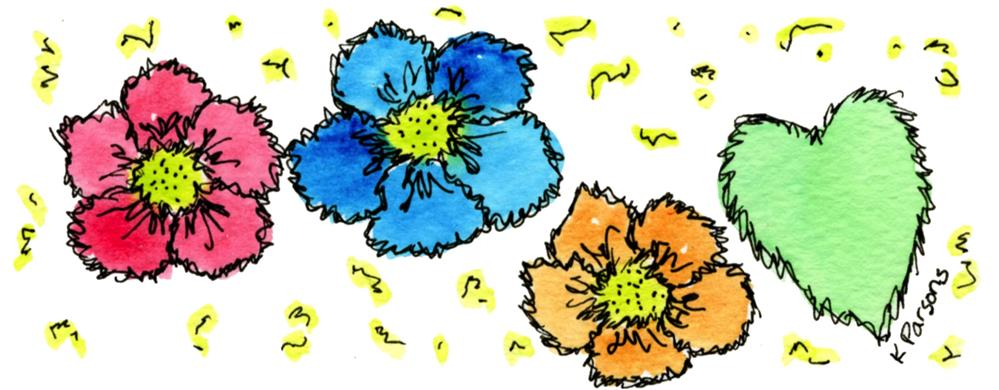 """""""Three Flowers and Love"""" original fine art by Kali Parsons"""