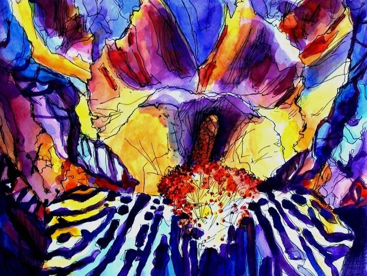 """Violet Iris"" original fine art by Nava Judith"