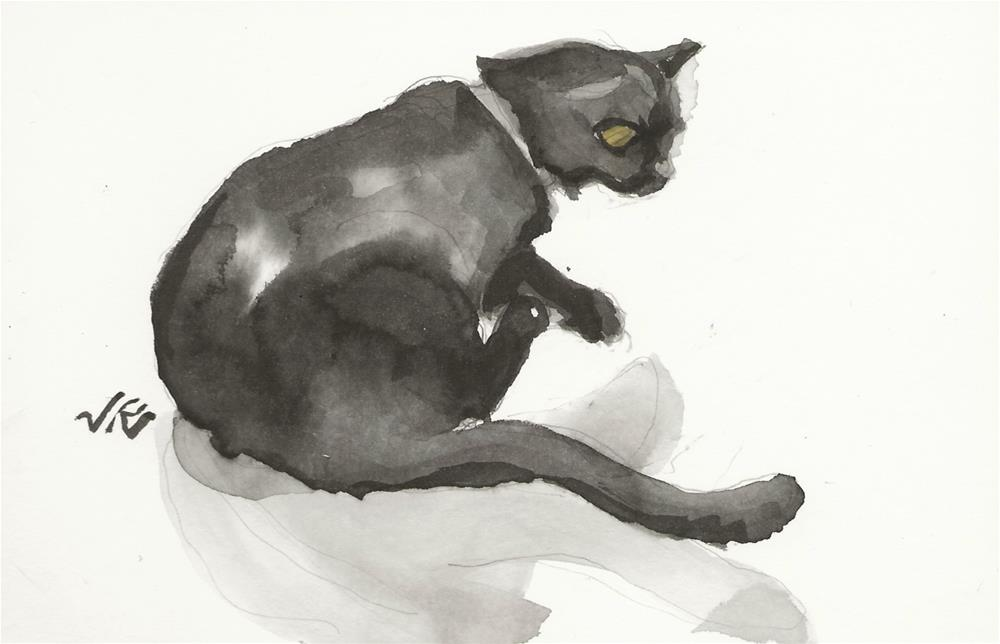 """Daily Cat 161"" original fine art by Jean Krueger"