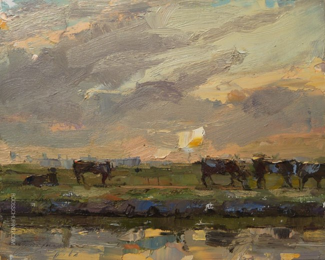 """""""Painting Cows and Evening Sky"""" original fine art by Roos Schuring"""