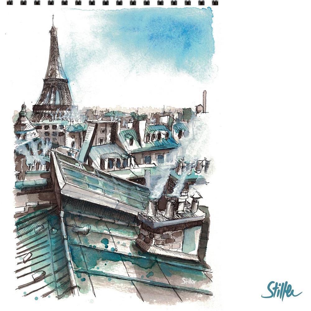 """3482 Eiffel Tower"" original fine art by Dietmar Stiller"