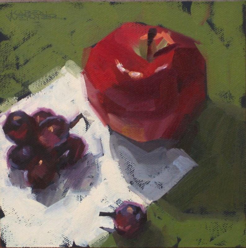 """Apple, Grapes & Green"" original fine art by Karen Werner"