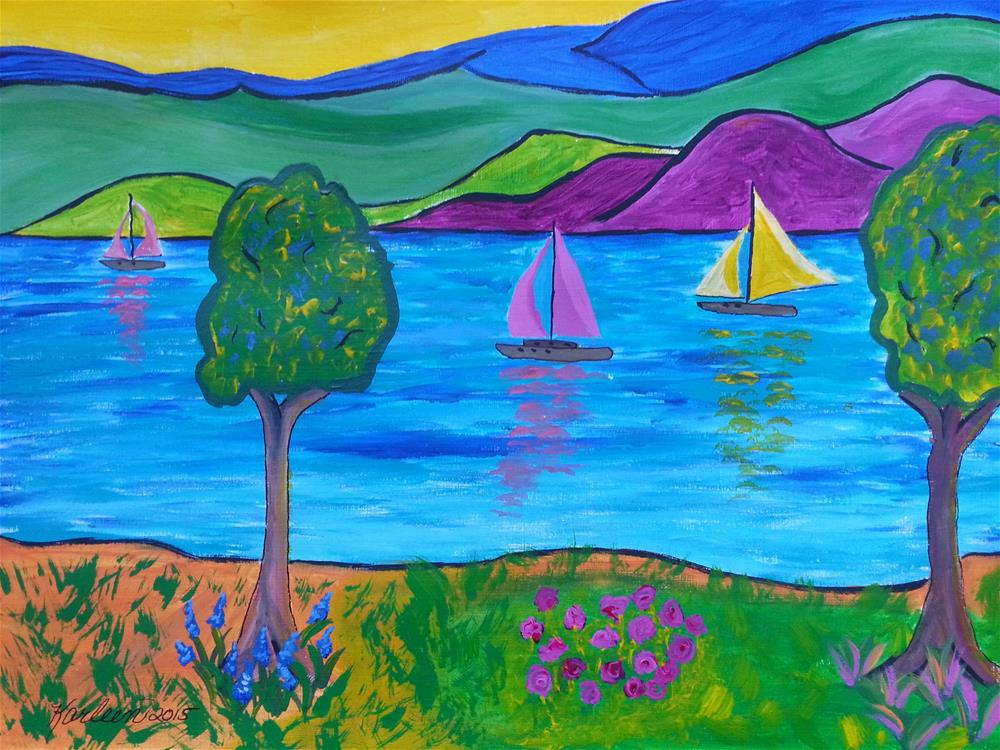 """Sailboats and Mountains"" original fine art by Karleen Kareem"
