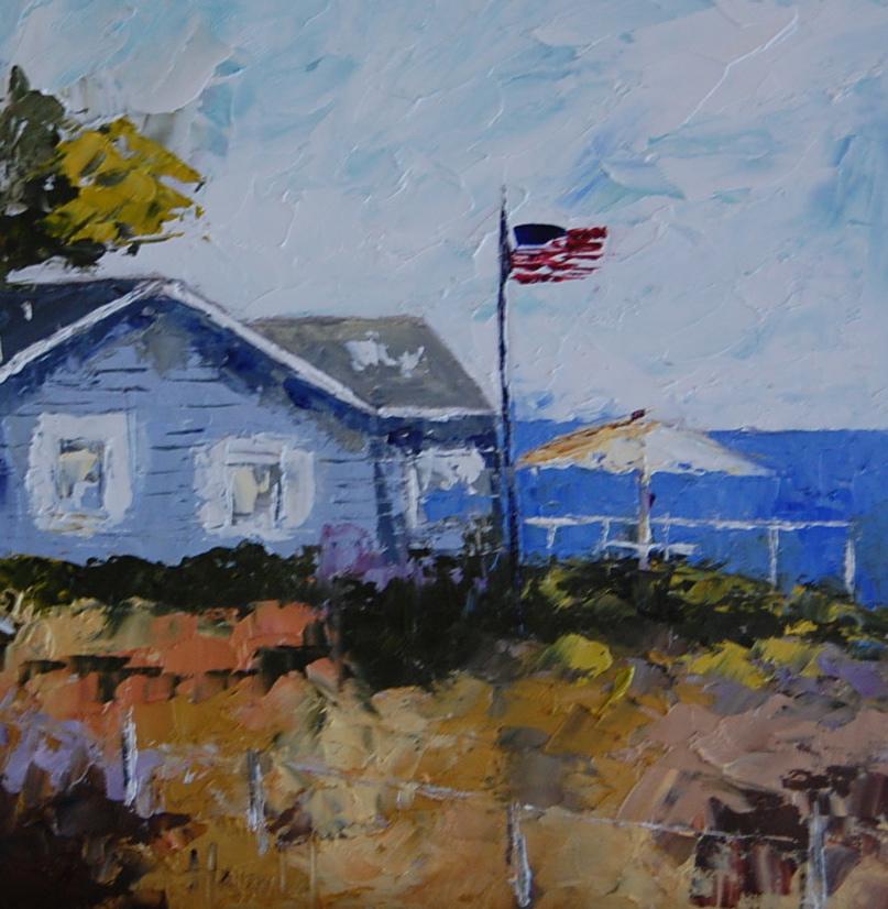 """""""Blue Cottage at Crystal Cove"""" original fine art by Deborah Harold"""