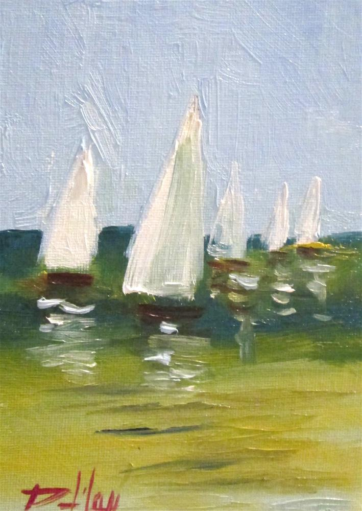 """A Clear Day,Sailboats"" original fine art by Delilah Smith"