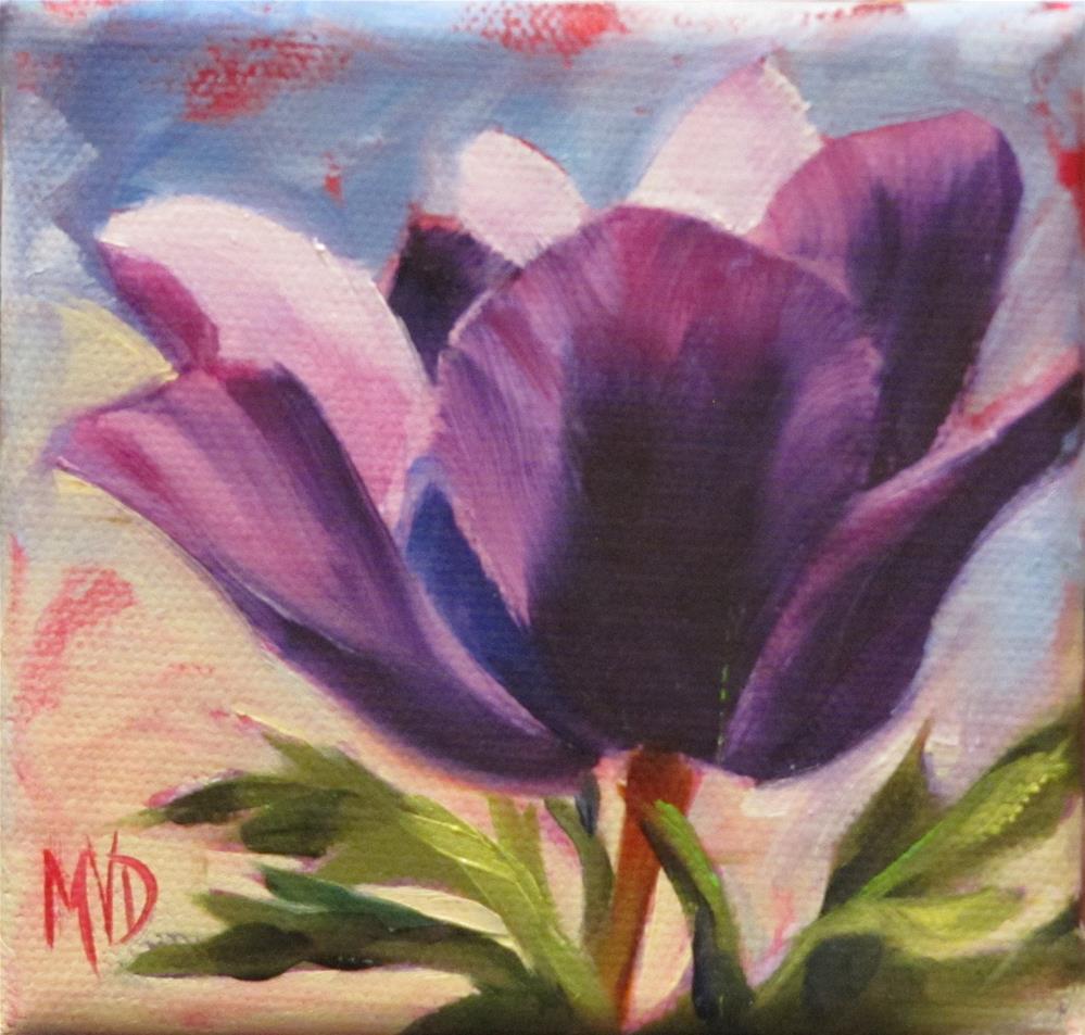 """Purple Anemone"" original fine art by Mary Van Deman"