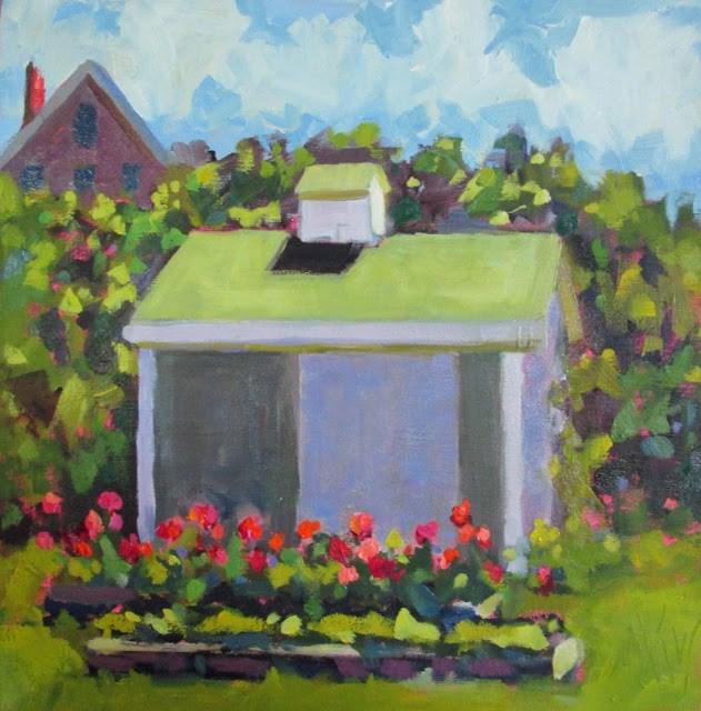 """Monhegan Garden 8x8 oil on panel- One of the beautiful gardens on Monhegan Island"" original fine art by Mary Sheehan Winn"