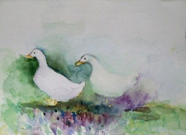 """""""What are you quacking?"""" original fine art by Mitsuru Cope"""