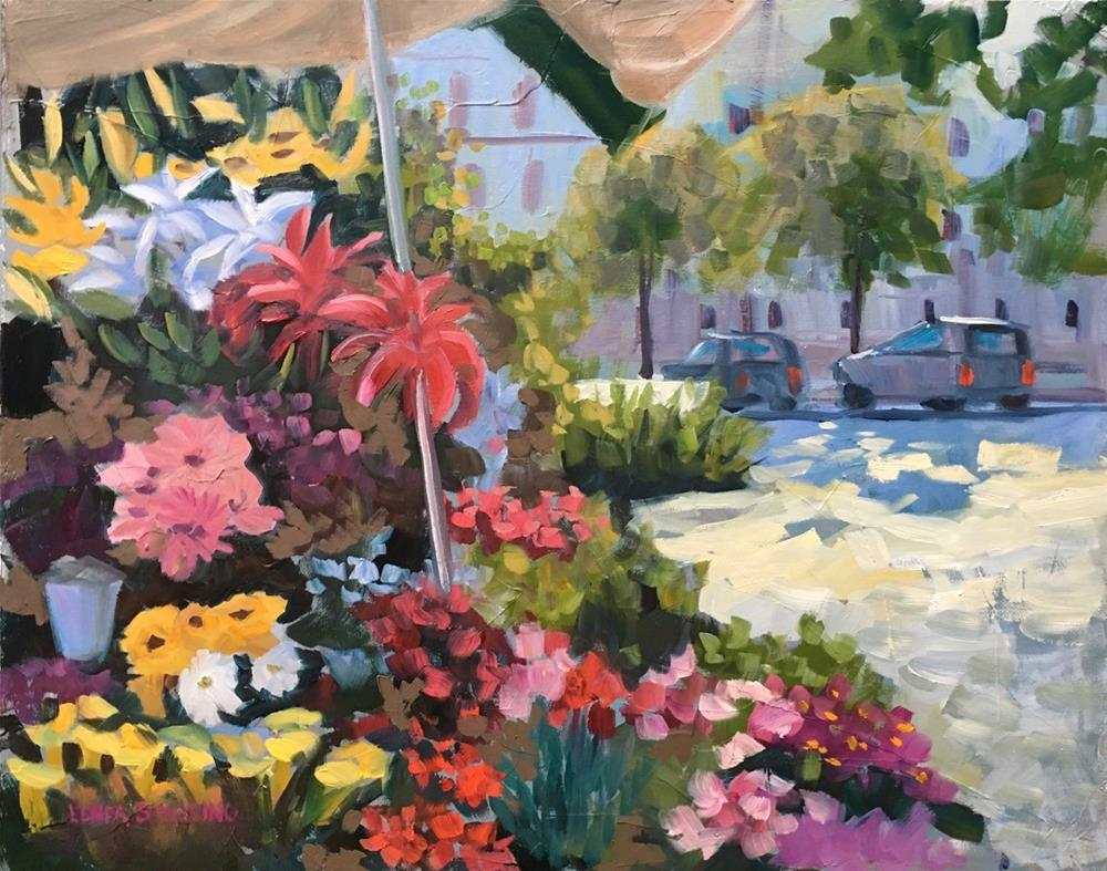 """Outdoor Flower Market in Rome"" original fine art by Linda Marino"