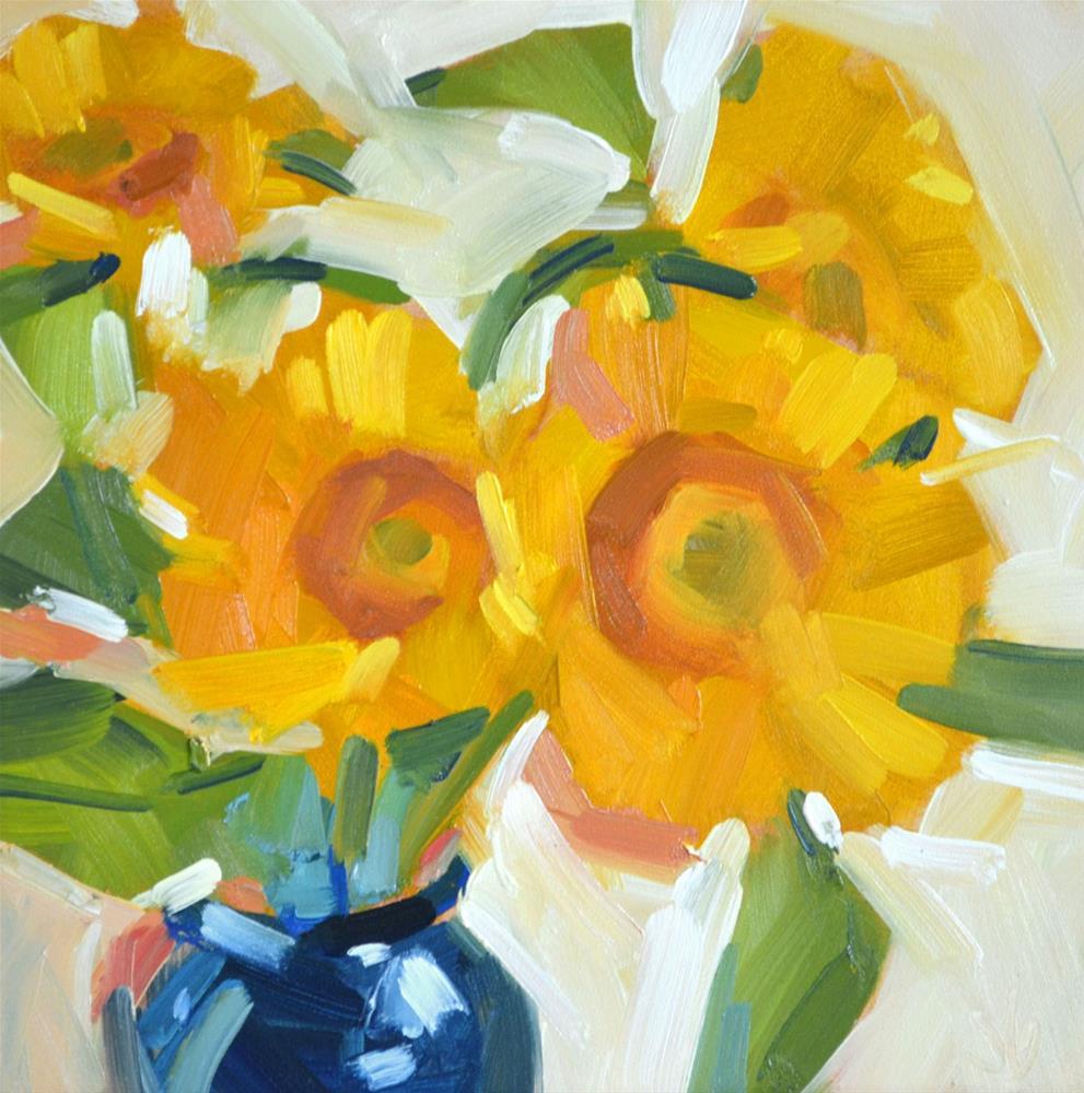 """Sunflowers Simple"" original fine art by Jessica Green"